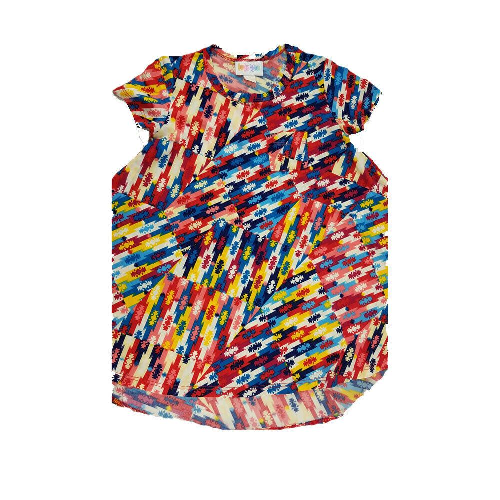 Kids Scarlett LuLaRoe Rainbow Color Geometric Stripe w/ Pocket Swing Dress Size 2 fits kids 2T-4