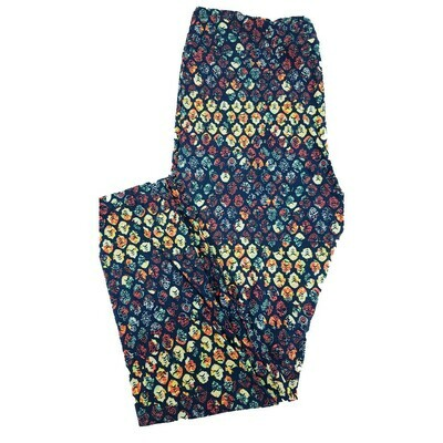 LuLaRoe Tall Curvy TC Dark Blue Multicolor Floral Polka Dot Geometric Leggings fits 12-18