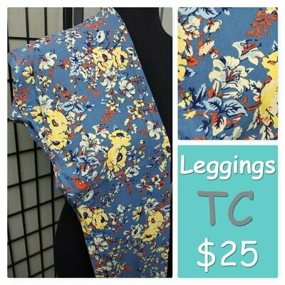 LuLaRoe Tall Curvy TC Floral Leggings fits sizes 12-18