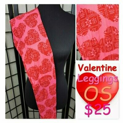 One Size (OS) Valentine Hearts and Love LuLaroe Leggings fits sizes 2-10