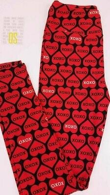 One Size (OS) Valentine Hearts and Love LuLaroe Leggings fits sizes 2-8