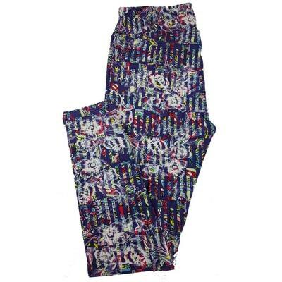 LuLaRoe Tall Curvy TC Paisley Geometric Floral Striped Leggings fits 12-18