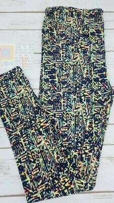LuLaRoe Tall Curvy TC Geometric Leggings fits sizes 12-18