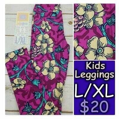 Leggings Kids Large-XL (LXL) LuLaRoe Floral fits sizes 8-14