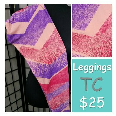 LuLaRoe Tall Curvy TC Stripes and Zig Zags Leggings fits sizes 12-18