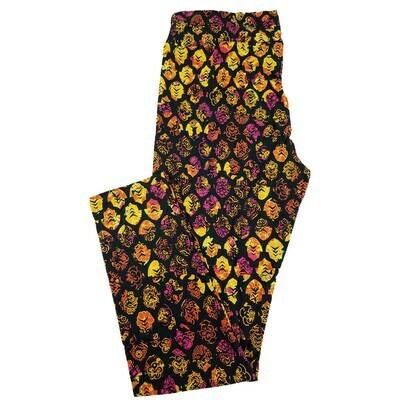 LuLaRoe Tall Curvy TC Black Fuchsia Dark Yellow Polka Dot Geometric Leggings fits 12-18