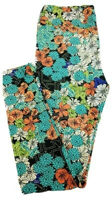 LuLaRoe Tall Curvy TC Black Light Blue Coral White Green Geometric Floral Leggings fits 12-18