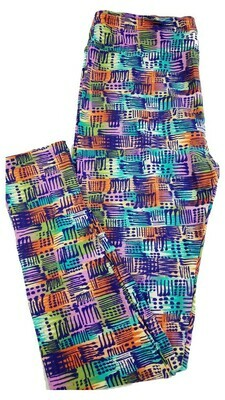 LuLaRoe Tall Curvy TC Blue Multicolor Geometric Stripe Floral Leggings fits 12-18