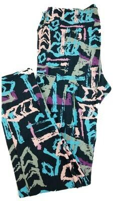 LuLaRoe Tall Curvy TC Charcoal Gray Light Blue Light Pink Purple Geometric Chevron Leggings fits 12-18