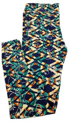 LuLaRoe Tall Curvy TC Dark Blue Green Orange Red Geometric Zig Zag Floral Leggings fits 12-18