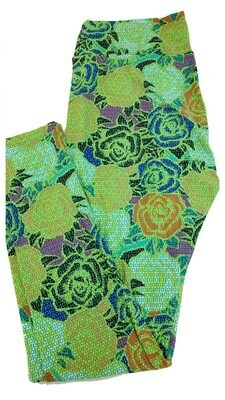LuLaRoe Tall Curvy TC Lime Green Blue Yellow Peach Black Floral Roses Stripes Geometric Leggings fits 12-18