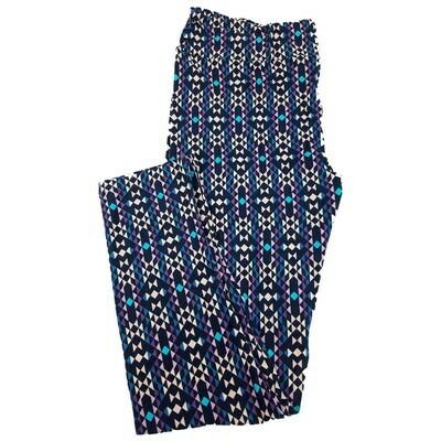 LuLaRoe Tall Curvy TC Multicolor Blue Striped Geometric Leggings fits 12-18