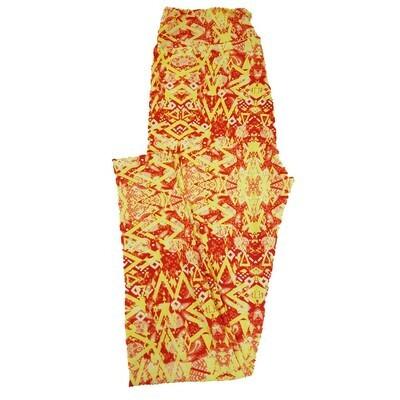 LuLaRoe Tall Curvy TC Paisley Floral Zig Zag Geometric Leggings fits 12-18