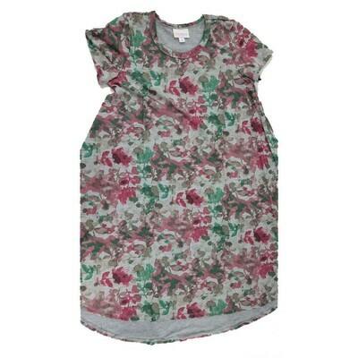 Kids Scarlett LuLaRoe Floral Gray Fuchsia Green Swing Dress Size 10 fits kids 8-10