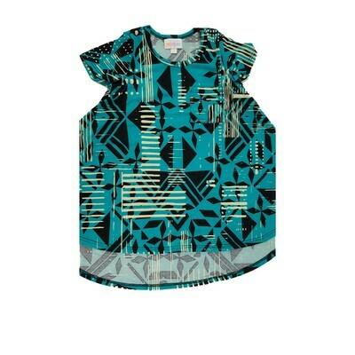 Kids Scarlett LuLaRoe Black Teal Cream Geometric w/ Pocket Swing Dress Size 2 fits kids 2T-4