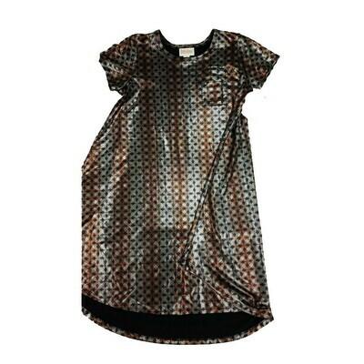 Kids Scarlett LuLaRoe Elegant Collection Geometric Metallic Brown Silver Swing Dress Size 10 fits kids 8-10