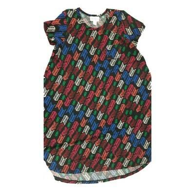 Kids Scarlett LuLaRoe Geometric Black Pink Blue Swing Dress Size 10 fits kids 8-10