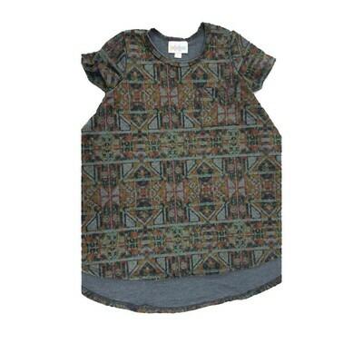 Kids Scarlett LuLaRoe Black Brown Gray Geometric Swing Dress Size 2 fits kids 2T-4