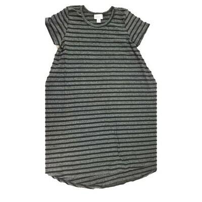 Kids Scarlett LuLaRoe Black and Gray Stripe Swing Dress Size 10 fits kids 8-10