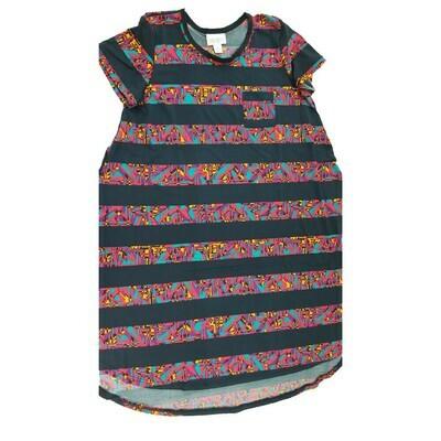 Kids Scarlett LuLaRoe Geometric Blue Fucshsia Black Swing Dress Size 10 fits kids 8-10