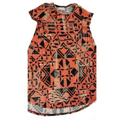 Kids Scarlett LuLaRoe Geometric Orange Black Swing Dress Size 10 fits kids 8-10