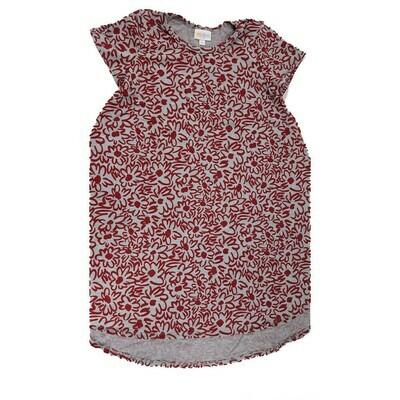 Kids Scarlett LuLaRoe Floral Gray and Red Swing Dress Size 10 fits kids 8-10