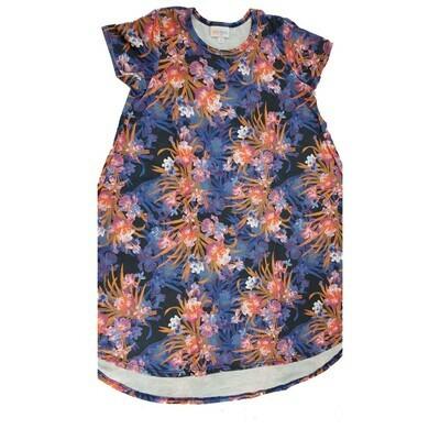 Kids Scarlett LuLaRoe Floral Purple Orange Pink Swing Dress Size 10 fits kids 8-10