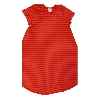 Kids Scarlett LuLaRoe Red and Dark Red Stripe Swing Dress Size 10 fits kids 8-10