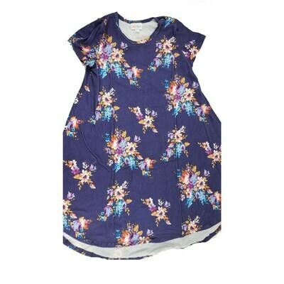 Kids Scarlett LuLaRoe Floral Purple Pink Blue Swing Dress Size 10 fits kids 8-10
