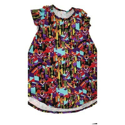 Kids Scarlett LuLaRoe Geometric Black Red Yellow Swing Dress Size 10 fits kids 8-10
