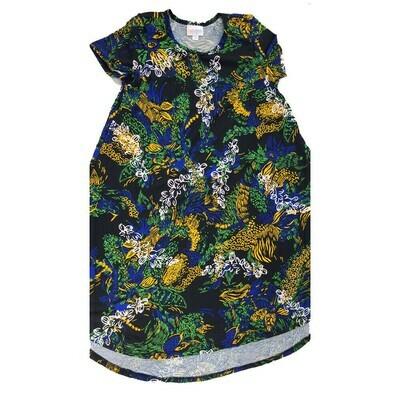 Kids Scarlett LuLaRoe Floral Black Green Yellow Swing Dress Size 10 fits kids 8-10