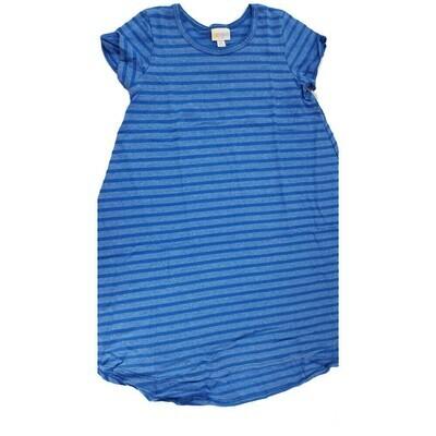 Kids Scarlett LuLaRoe Blue and Dark Blue Stripe Swing Dress Size 10 fits kids 8-10