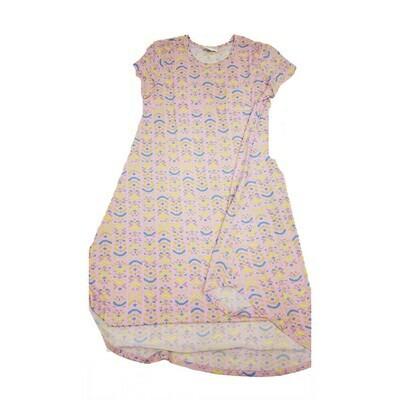 Kids Scarlett LuLaRoe Geometric Pink Yellow Blue Swing Dress Size 12 fits kids 12-14