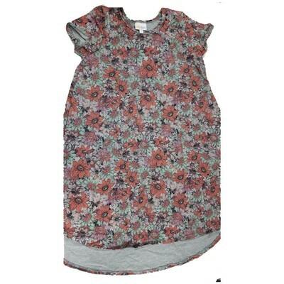 Kids Scarlett LuLaRoe Floral Gray Pink Lavender Swing Dress Size 12 fits kids 12-14