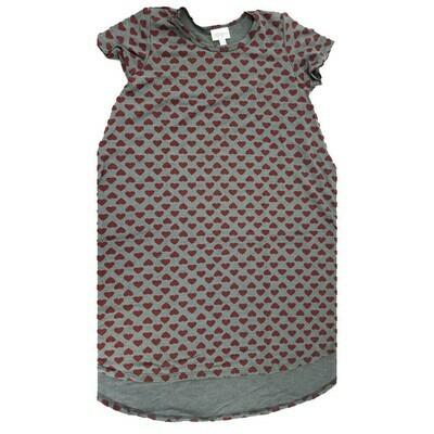 Kids Scarlett LuLaRoe Geometric Gray with Red Hearts Swing Dress Size 12 fits kids 12-14