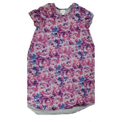 Kids Scarlett LuLaRoe Floral Gray Pink Purple Swing Dress Size 12 fits kids 12-14