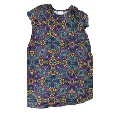 Kids Scarlett LuLaRoe Floral Dark Blue Yellow Pink Swing Dress Size 12 fits kids 12-14