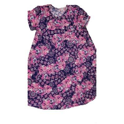 Kids Scarlett LuLaRoe Floral Navy Pink White Swing Dress Size 12 fits kids 12-14