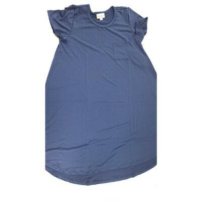 Kids Scarlett LuLaRoe Solid Smokey Blue Swing Dress Size 12 fits kids 12-14