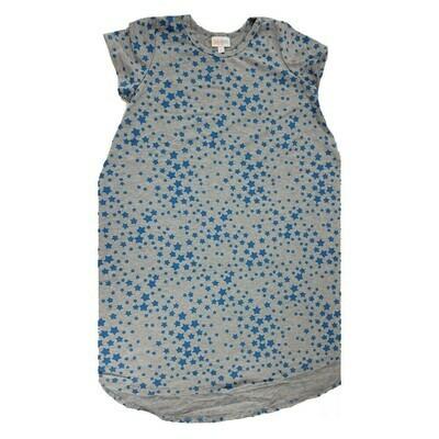 Kids Scarlett LuLaRoe Geometric Gray with Blue Stars Swing Dress Size 12 fits kids 12-14