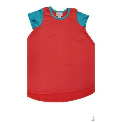 Kids Scarlett LuLaRoe Red Solid with Teal Sleeves Dress Size 4 fits kids 3-4