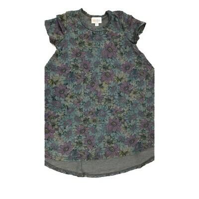 Kids Scarlett LuLaRoe Floral Gray Purple Blue Swing Dress Size 4 fits kids 3-4