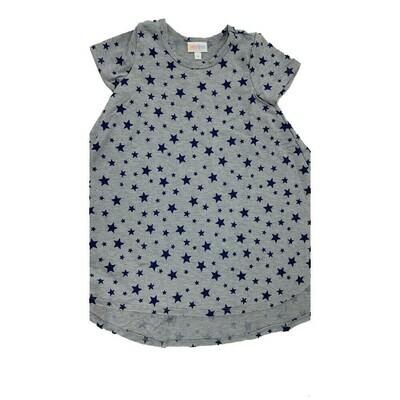 Kids Scarlett LuLaRoe Gray with Dark Blue Stars Polka Dots Swing Dress Size 4 fits kids 3-4