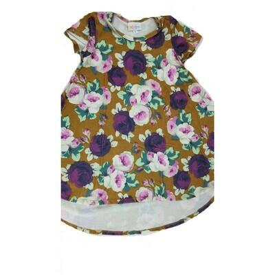Kids Scarlett LuLaRoe Brown Purple White Roses Floral Swing Dress Size 4 fits kids 3-4