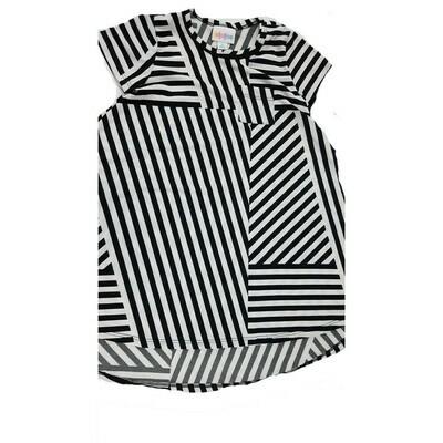 Kids Scarlett LuLaRoe Black and White Geometric Stripe Swing Dress Size 4 fits kids 3-4