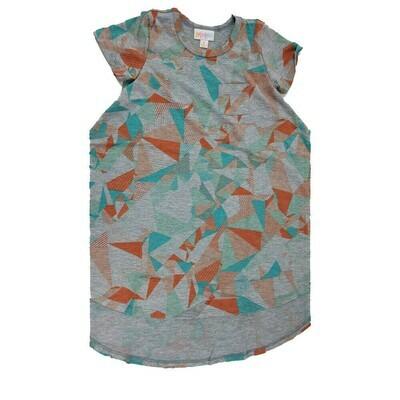 Kids Scarlett LuLaRoe Gray Orange Teal Geometric Swing Dress Size 4 fits kids 3-4