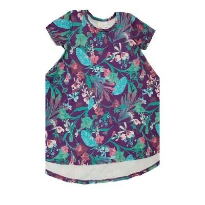 Kids Scarlett LuLaRoe Floral Purple Teal Light Blue Swing Dress Size 4 fits kids 3-4