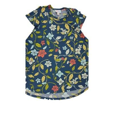 Kids Scarlett LuLaRoe Floral Dark Blue Purple Yellow Swing Dress Size 4 fits kids 3-4