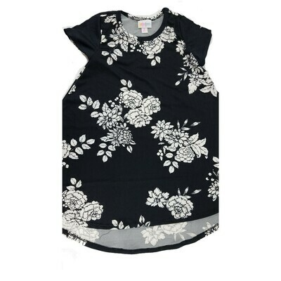 Kids Scarlett LuLaRoe Floral Black with White Swing Dress Size 6 fits kids 5-6