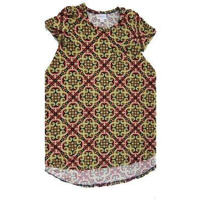 Kids Scarlett LuLaRoe Geometric Black Yellow Red Swing Dress Size 6 fits kids 5-6